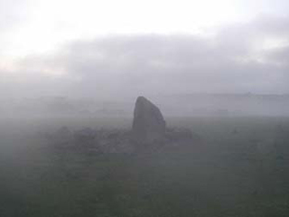 The Ryedown Stone in the early morning mist.